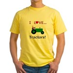 I Love Green Tractors Yellow T-Shirt