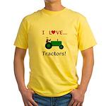 I Love Green Tractors Yellow T-Shirt
