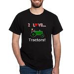 I Love Green Tractors Dark T-Shirt
