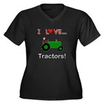 I Love Green Tractors Women's Plus Size V-Neck Dar