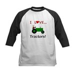 I Love Green Tractors Kids Baseball Jersey