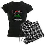 I Love Green Tractors Women's Dark Pajamas