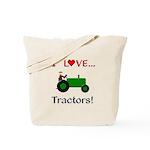 I Love Green Tractors Tote Bag