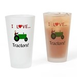 I Love Green Tractors Drinking Glass