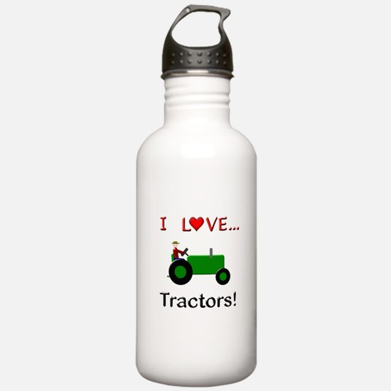 I Love Green Tractors Water Bottle