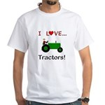 I Love Green Tractors White T-Shirt