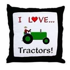 I Love Green Tractors Throw Pillow