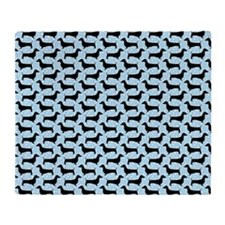 Baby Blue Polka Dachshunds Throw Blanket