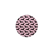 Baby Pink Polka Dachshunds Mini Button