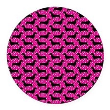 Pink Polka Dachshunds Round Car Magnet