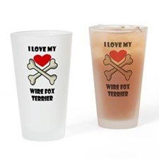 I Love My Wire Fox Terrier Drinking Glass