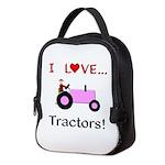 I Love Pink Tractors Neoprene Lunch Bag