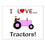 I Love Pink Tractors Small Poster