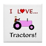 I Love Pink Tractors Tile Coaster