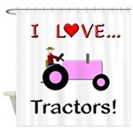 I Love Pink Tractors Shower Curtain