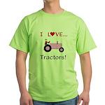 I Love Pink Tractors Green T-Shirt