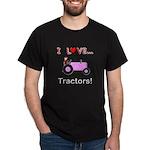 I Love Pink Tractors Dark T-Shirt
