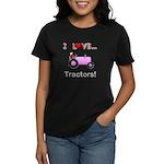 I Love Pink Tractors Women's Dark T-Shirt