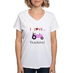 I Love Pink Tractors Women's V-Neck T-Shirt