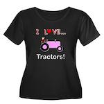 I Love Pink Tractors Women's Plus Size Scoop Neck