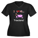 I Love Pink Tractors Women's Plus Size V-Neck Dark