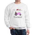 I Love Pink Tractors Sweatshirt