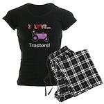 I Love Pink Tractors Women's Dark Pajamas