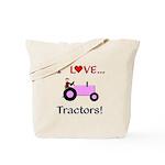 I Love Pink Tractors Tote Bag