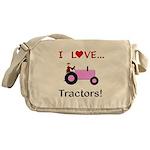 I Love Pink Tractors Messenger Bag