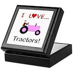 I Love Pink Tractors Keepsake Box