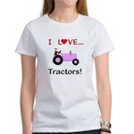 I Love Pink Tractors Women's T-Shirt