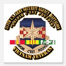 "313th USA SAB w SVC Ribbon Square Car Magnet 3"" x"