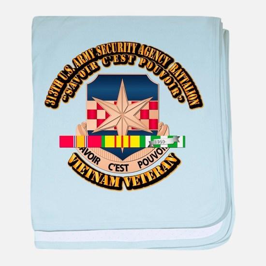 313th USA SAB w SVC Ribbon baby blanket