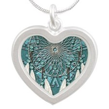 American Indian Azure Dream  Silver Heart Necklace