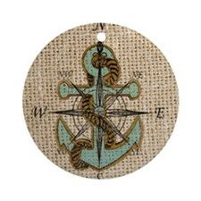 nautical map vintage anchor pattern Round Ornament