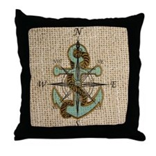 nautical map vintage anchor pattern Throw Pillow