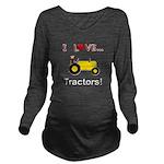 I Love Yellow Tractors Long Sleeve Maternity T-Shi