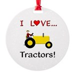 I Love Yellow Tractors Round Ornament