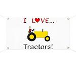 I Love Yellow Tractors Banner