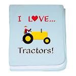 I Love Yellow Tractors baby blanket