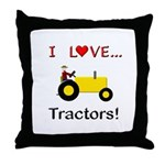 I Love Yellow Tractors Throw Pillow