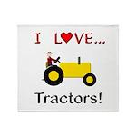 I Love Yellow Tractors Throw Blanket