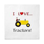 I Love Yellow Tractors Queen Duvet