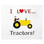 I Love Yellow Tractors King Duvet