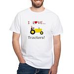I Love Yellow Tractors White T-Shirt