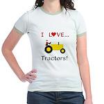 I Love Yellow Tractors Jr. Ringer T-Shirt