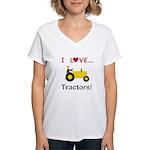 I Love Yellow Tractors Women's V-Neck T-Shirt