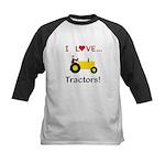 I Love Yellow Tractors Kids Baseball Jersey