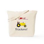 I Love Yellow Tractors Tote Bag
