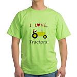 I Love Yellow Tractors Green T-Shirt